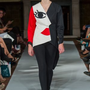 Red white and black cubist dress inspired by picasso
