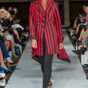 Red black and stripy angled complex cut jacket
