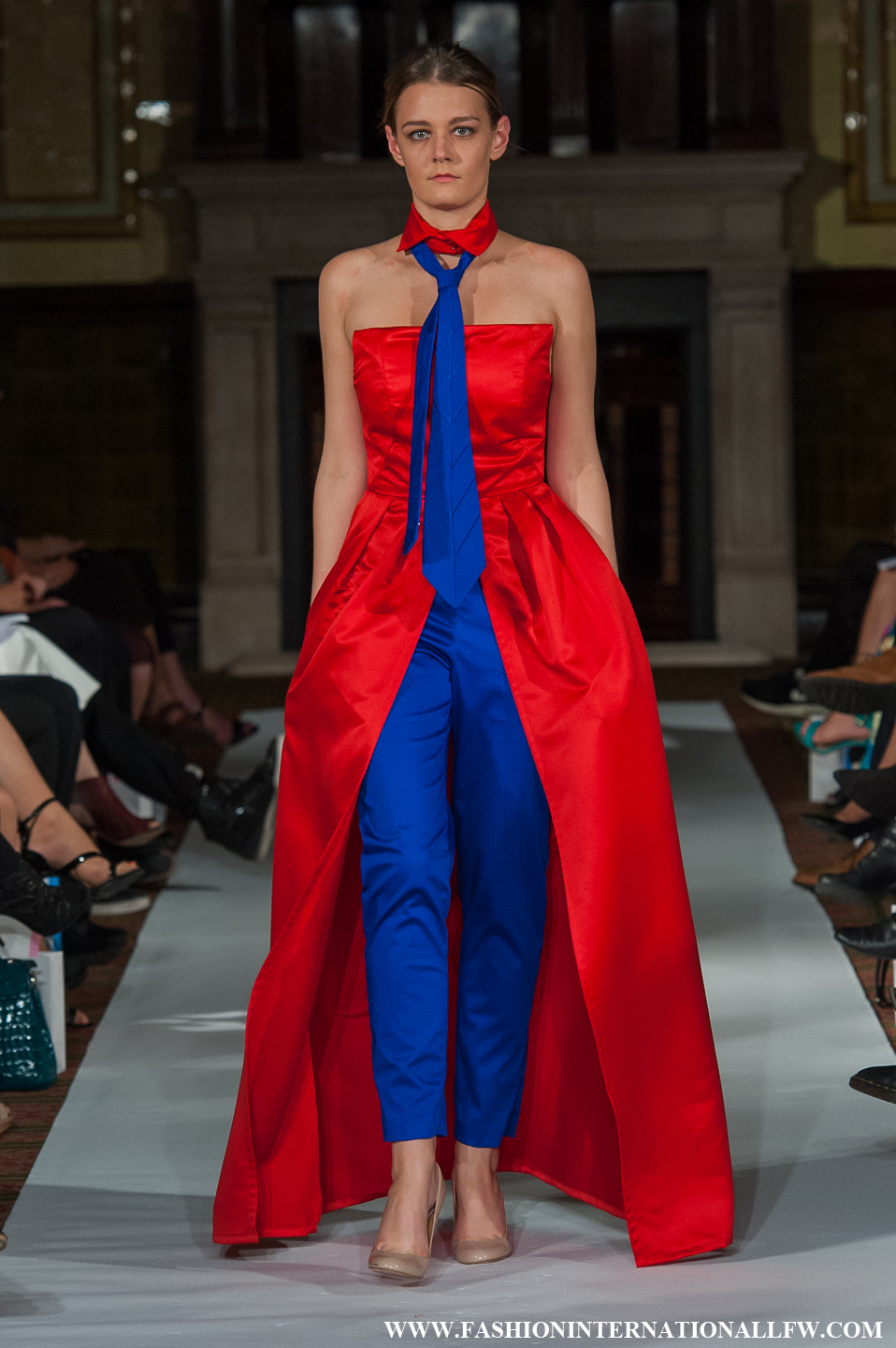 Red and royal blue dress-jacket and trouser combination