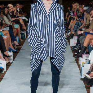 Blue & white stripy angled cut jacket