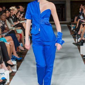 Royal blue asymmetric jacket and trouser suit