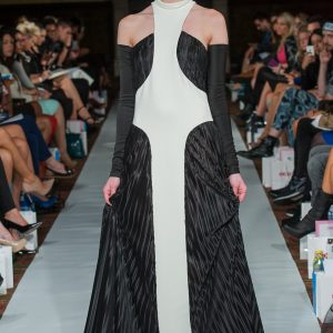 Long black and white pleated dress