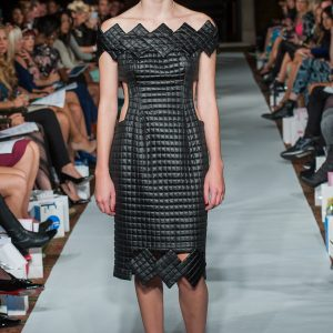 Black quilted diamond-detail dress