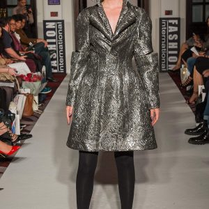Silver brocade bubble jacket with 3D lapel, high collar and slit sleeves