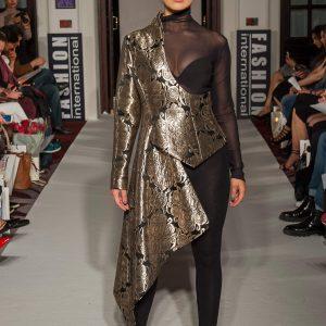 Metallic brocade half asymmetric jacket