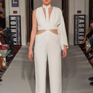 White crepe asymmetric jumpsuit
