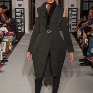 Black brocade angular jacket with half-pleated collar and organza back
