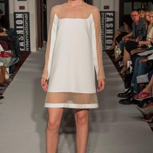 White crepe / skin-tone sheer mesh A-line dress with hoop and triangular elements