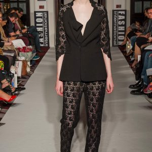 Black crepe and 3D lace trouser suit