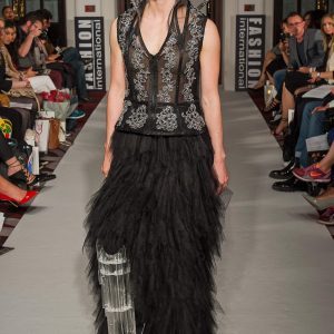 Black and silver metallic details waistcoat with long black mesh dress