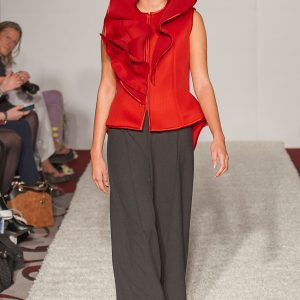 Red neoprene waistcoat with high collar, with optional 3d calla lilly broach