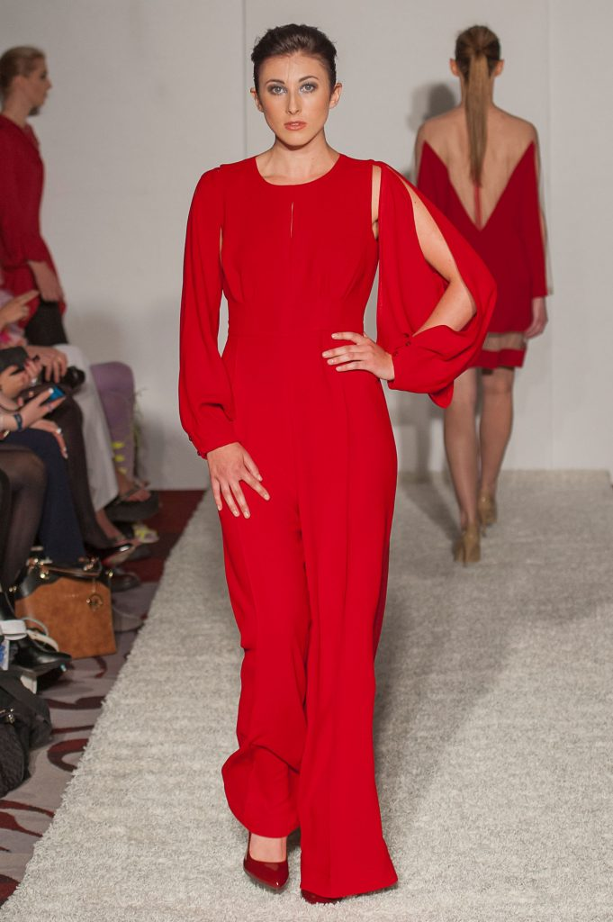 Red crepe open back jumpsuit with detachable sleeves