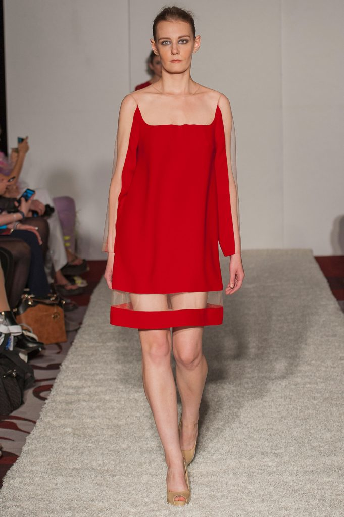 Red crepe/skin-tone sheer mesh A-line dress with triangular elements