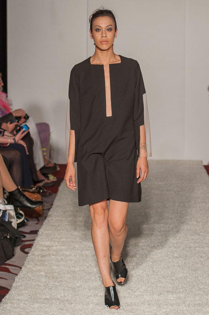 Black crepe/skin-tone sheer mesh A-line dress with rectangular elements