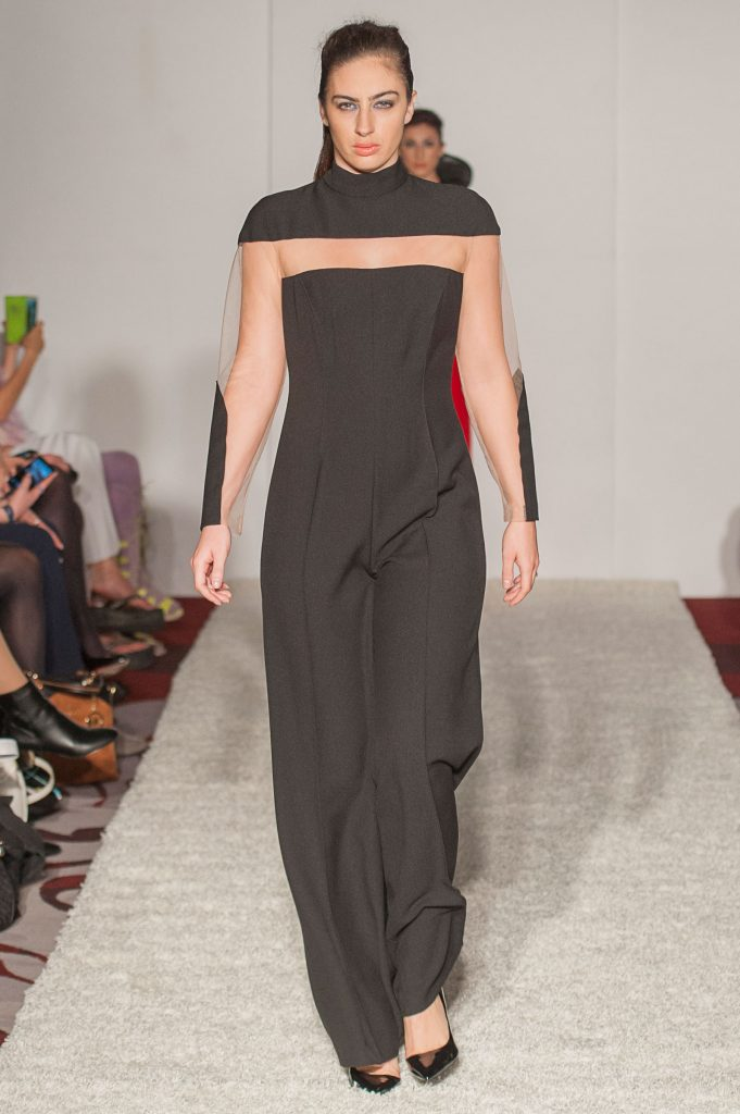 Black crepe/skin-tone mesh detailed jumpsuit