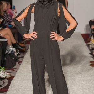 Black crepe open back jumpsuit with detachable sleeves, with optional 3d black or white collar